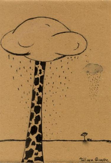 illustration of giraffe in clouds