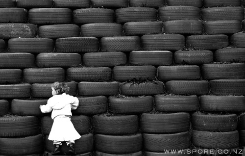 photo wall of tires
