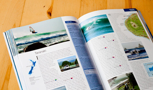 taranaki windsurfing spot photograph in guide book