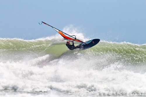 hitting the lip at pungarehu wavesailing photo