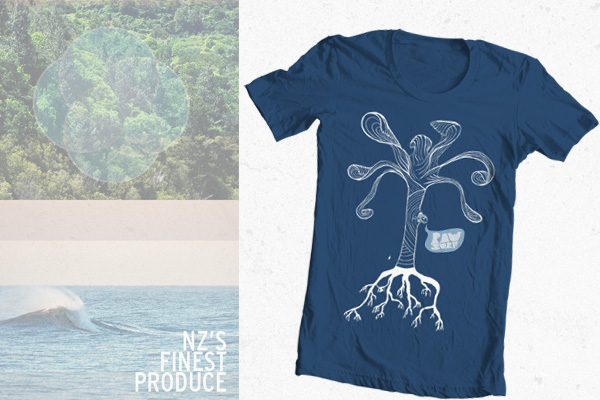 raw surf tree fish tshirt illustration