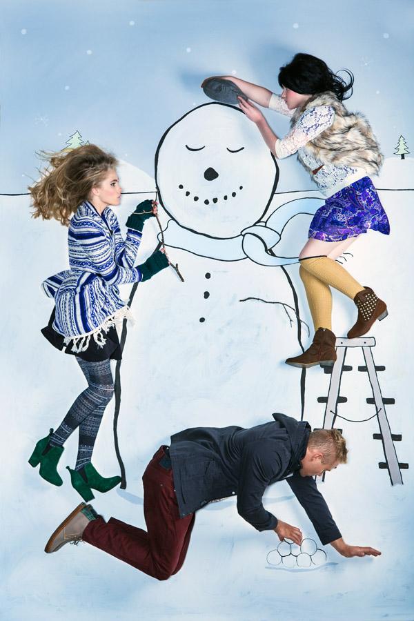 building a snowman fashion illustration