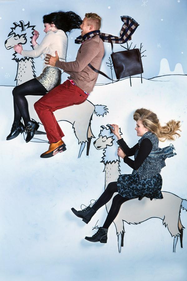 riding llamas in snow illustration