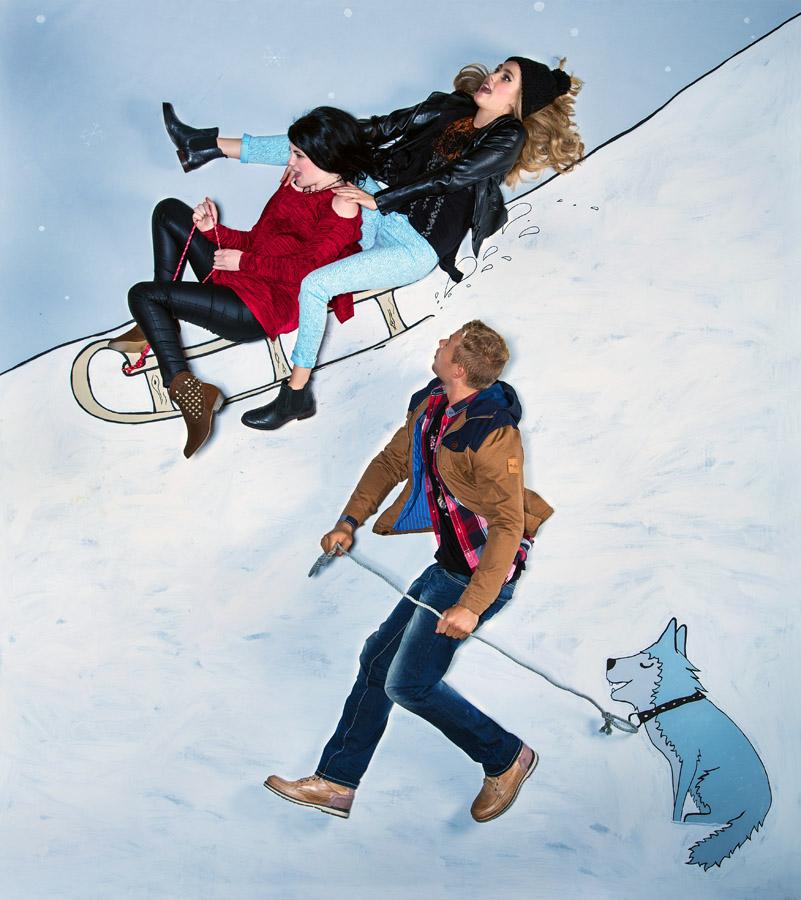 winter sledding fashion illustration with husky dog
