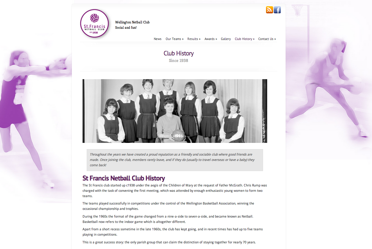 netball club website design