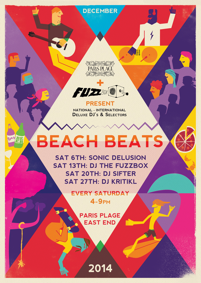 illustrated music poster for new plymouth beach beats