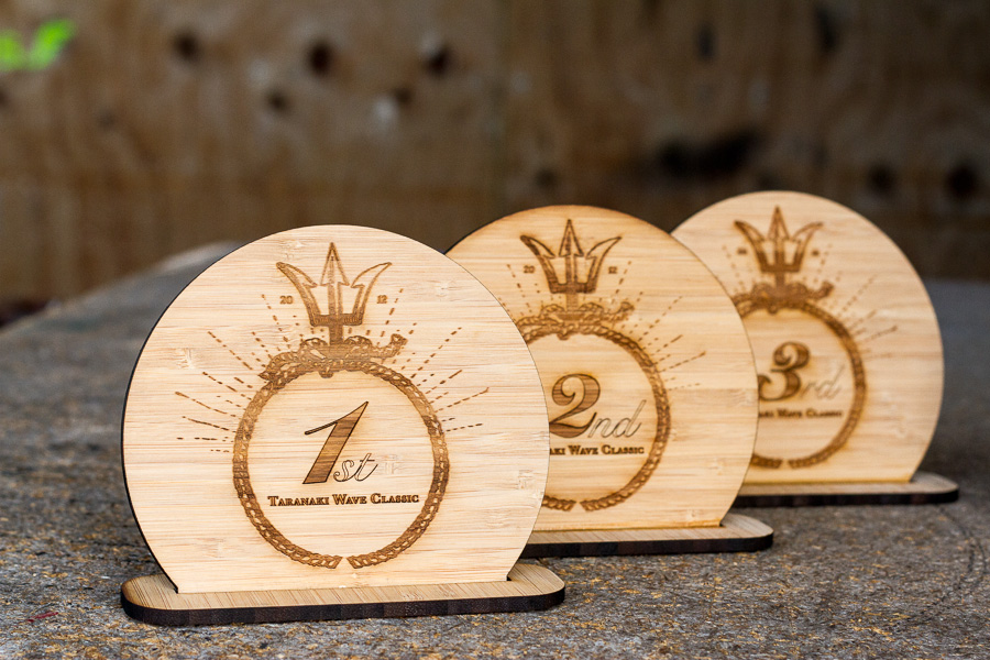 laser cut wooden trophy design for surf event