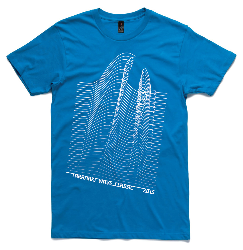taranaki windsurf event tshirt design with waves
