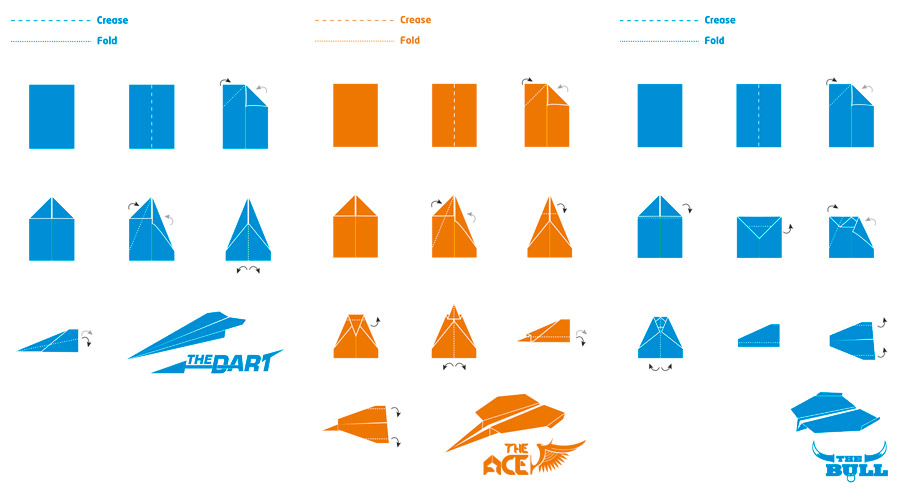 paper airplane design instructions and logos